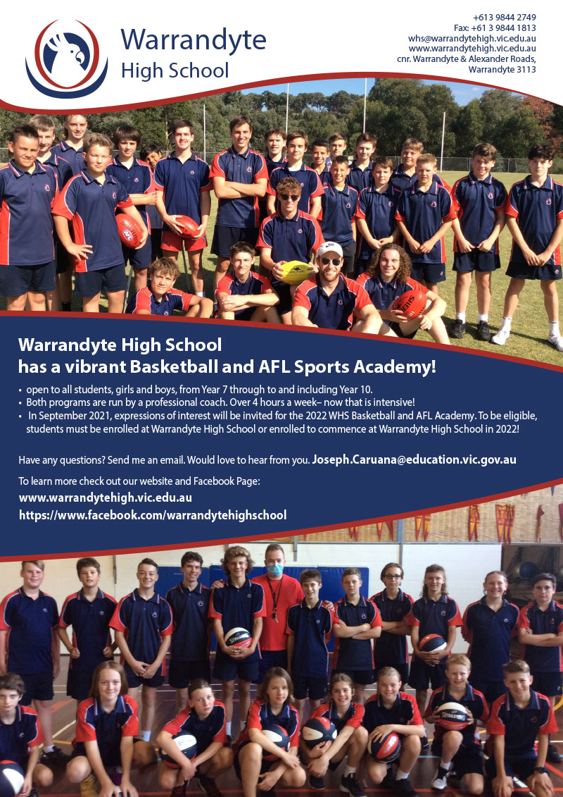 Warrandyte High Sports Academy Flier